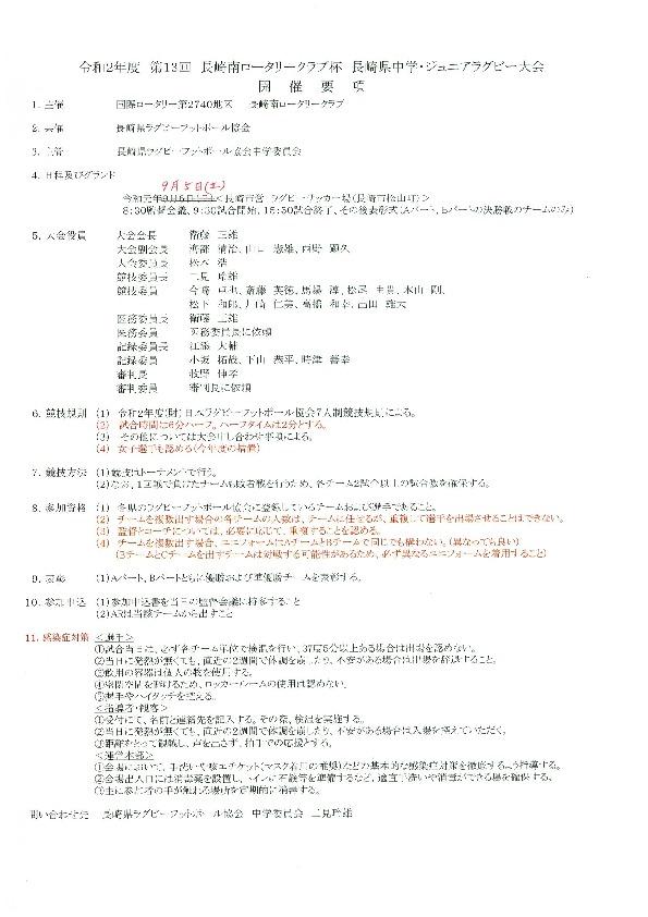 第13回 長崎南ロータリークラブ杯 長崎県中学・ジュニアラグビー大会