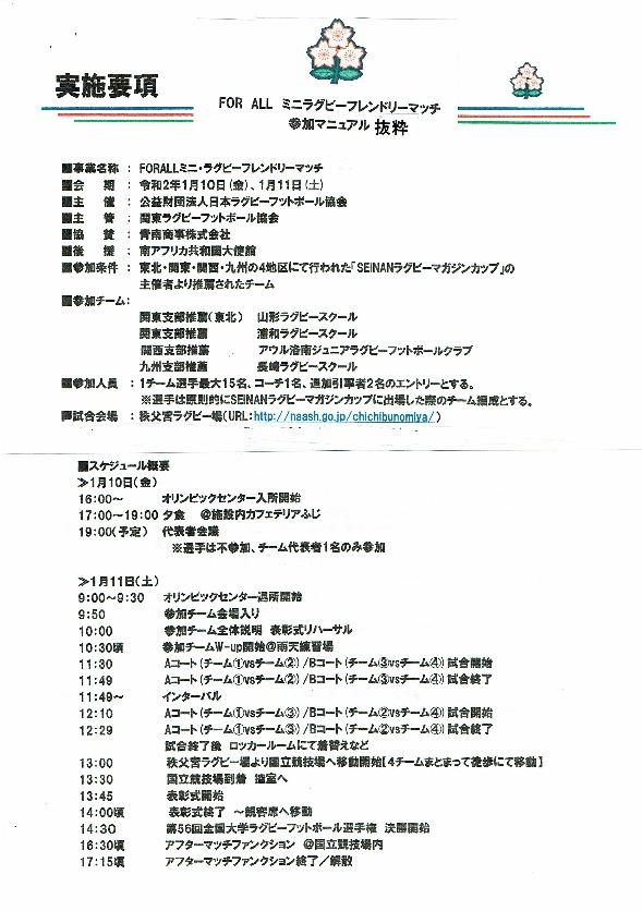 FOR ALL ミニラグビー・フレンドリーマッチ in 秩父宮ラグビー場