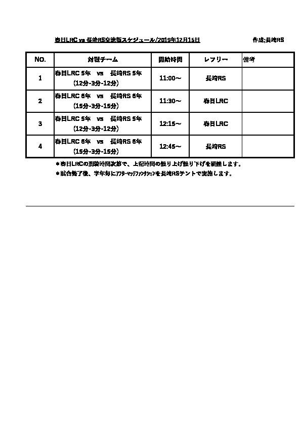 春日リトルラガーズクラブ交流戦(試合結果)