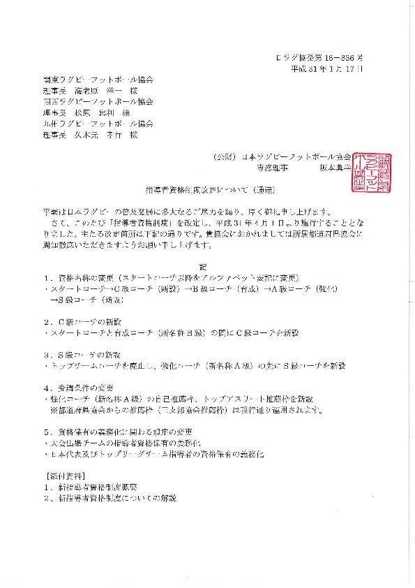 指導者資格制度改定について(日本ラグビーフットボール協会通達)